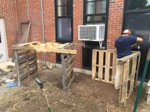Steve making compost bins