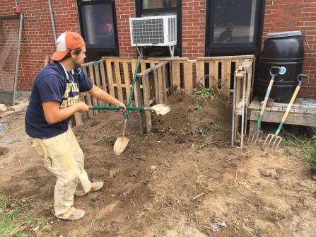 Steve making compost